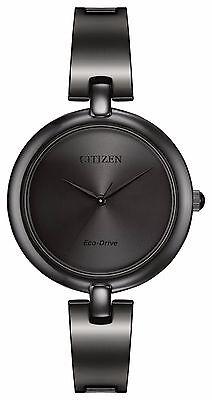 Citizen Eco-Drive Women's EM0225-84E Silhouette Black Dial Bangle 34mm Watch