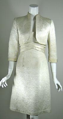 BADGLEY MISCHKA Champagne Cocktail Bridal Dress & Jacket SET Size 2 (Cocktail Jacket Set)