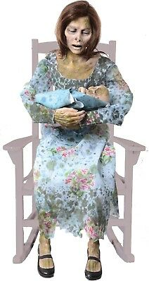 Halloween LifeSize Animatronic CREEPY ROCKING MOLDY MOMMY Prop Seasonal Visions