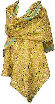 Schal Lemon Grün Baumwolle Seide scarf cotton silk Echarpe Foulard  ()