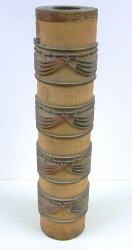 VTG Antique Industrial WALLPAPER Wood PRINT ROLLER Decorator LAMP BASE Shabby #2