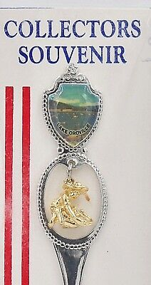 Vintage California Lake Oroville Collectors Souvenir Spoon Man Panning Gold