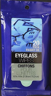 EYEGLASS MOIST CLEANING WIPES Sunglasses Binoculars Camera Lens 20ct/ pk  for sale  Shipping to India