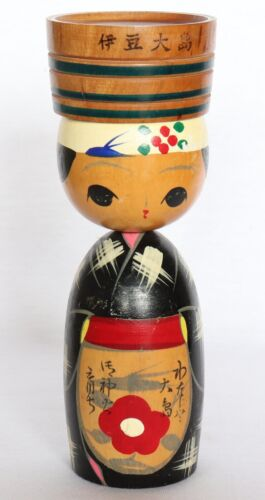 "Japanese Kokeshi Wood Doll Izu-oshima Camellia Handmade Vintage H17cm 6.69"""