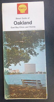 1968 Oakland East Bay cities street map Shell oil  gas Richmond to  Milpitas
