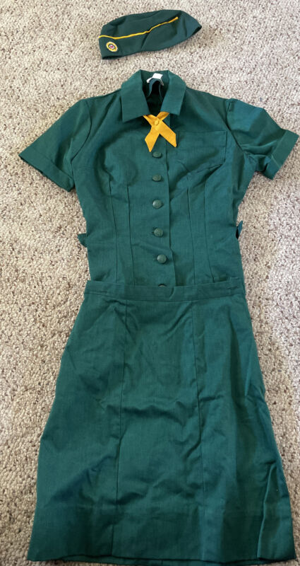 VINTAGE OFFICIAL GIRL SCOUTS STYLE 3-110 CAMP UNIFORM SHIRT SKIRT HAT SIZE 12