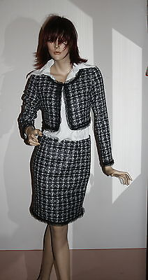 tailleur donna giacca gonna made italy boutique s l 40 44 46 bianco e nero