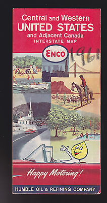 Enco Humble Oil Refining Company Central   Western Us Canada Interstate Map 1961