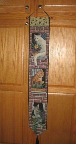 ADORABLE CATS IN WINDOW TAPESTRY BANNER