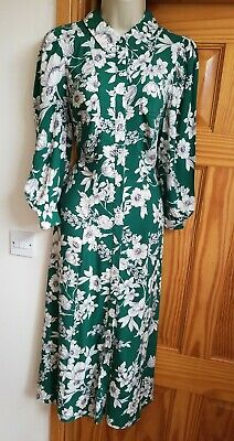 New Zara Floral Green White Printed Shirt Midi Dress Size L UK 12 14 £49 Vtg