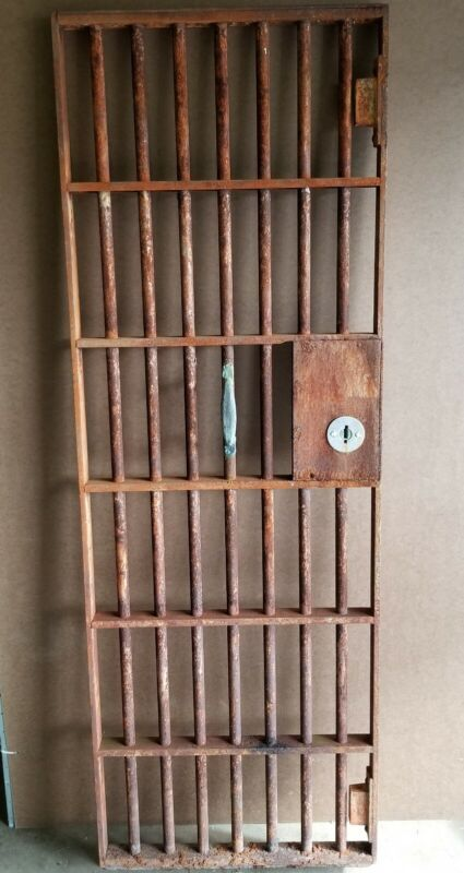 "AMAZING ANTIQUE IRON PRISON OR BANK VAULT DOOR 74"" X 25"" HEAVY PICK UP ONLY CBUS"