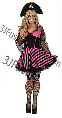 Ladies Womens Buccaneer Babe Pirate Captain Fancy Dress Costume FREE POST (AT)