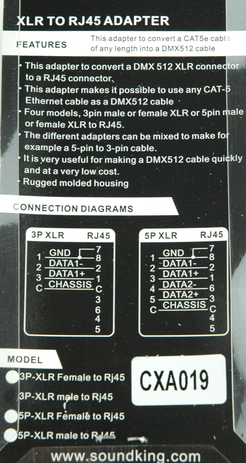 3 pin male XLR to RJ45 adaptor - converts CAT-5 Ethernet cable to ...