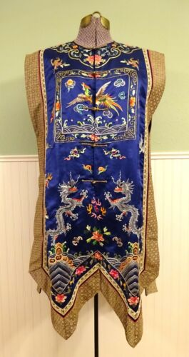 Vintage Chinese Blue Silk Embroidered Robe/Vest