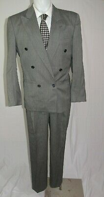 Istante by Versace Vintage Gray Birdseye Double Breasted Peak Lapel Suit 38R