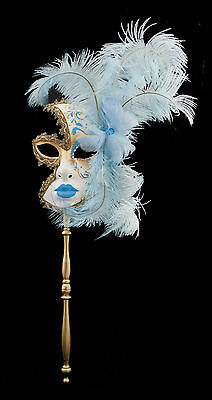 Mask from Venice in Stick and in Feathers Blue Golden 1366 V79