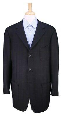 ISAIA Napoli Black w/ Gold Windowpane Wool-Cashmere Patch Pocket Blazer 46L