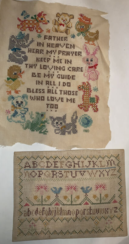 Vintage Paragon Needlecraft Completed Cross Stitch ABC Sampler & Prayer Animals
