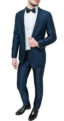 Elegante abito uomo Diamond sartoriale blu raso lucido vestito smoking cerimonia