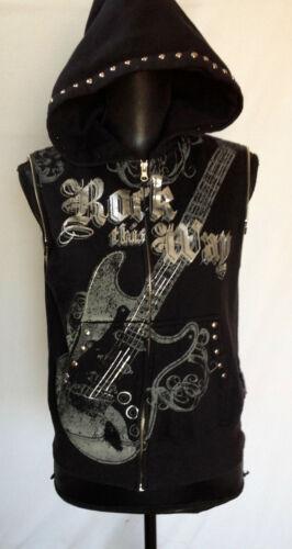 Aerosmith Rock This Way Black Hoodie Vest with Silver Studs Women