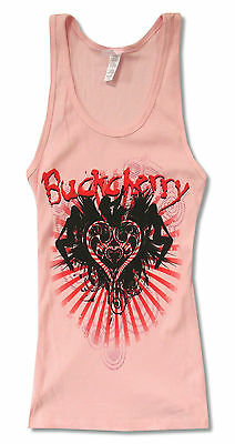 """BUCKCHERRY """"WINGS"""" PINK RIBBED TANK TOP SHIRT NEW OFFICIAL JUNIORS BAND"""