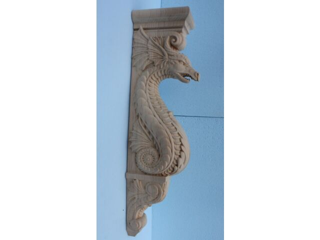 """Wooden Corbel/bracket Dragon. Wall Fireplace decor.  Carved from wood. 25"""" size"""