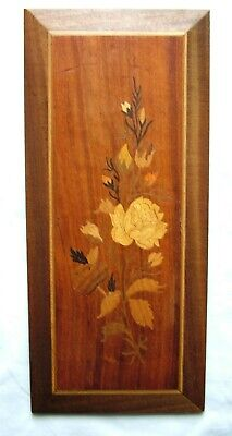 Vintage Hand Made Inlaid Wood Flower Picture Wall Hanging Wall Art - SN 753E