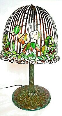 SOLID BRONZE TIFFANY TREE TRUNK LAMP BASE W/FLOWERING LOTUS SHADE