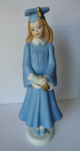 "Vintage Porcelain 1991 Enesco Growing Up Girls Figure ~ Graduation ~ 7.25""  Tall"