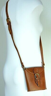 Hidesign  SMALL, VINTAGE STYLE , THICK TAN LEATHER CROSS BODY / SHOULDER BAG