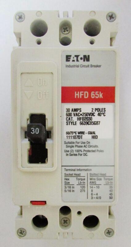 EATON CUTLER HAMMER HFD2030 2 Pole 30 Amp HFD Breaker