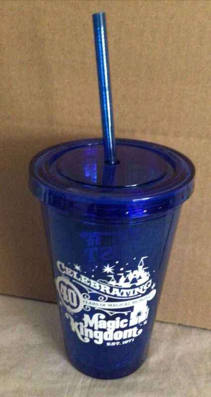 New. Disney Parks Cast Member Magic Kingdom 40th Tumbler Cup With Lid