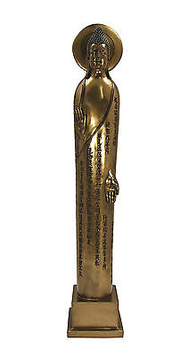 "Slim Tathagata Buddha Bronze Finish Statue - 13"" tall - Modern Art Deco style"