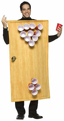 Beer Pong Drinking Party Adult Costume Wooden Look Body Smock Halloween Dress Up](Adult Halloween Party Drinks)