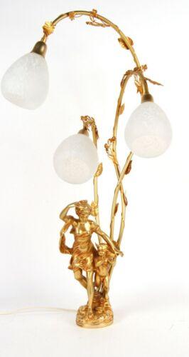 RARE ANTIQUE FRENCH BELLE EPOQUE FERVILLE SUAN GILT BRONZE SCULPTURE LAMP 1900s