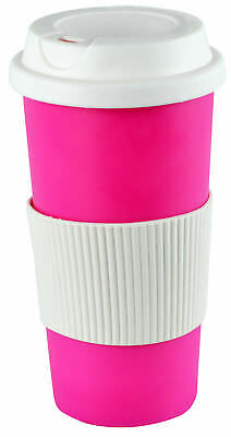 Coffee 16oz Thermal Mug Travel To Go Double Walled with Lid Pink Reusable Cup