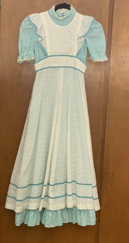 Vintage Flocked Floral Maxi Dress Eyelet Lace Pinafore Yard Plus Fabric Ricrac