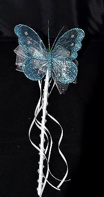 WEDDING FLOWERS FLOWER GIRL OR BRIDESMAID AQUA AND WHITE BUTTERFLY WAND