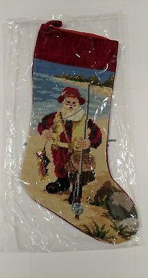 Santa Christmas Stocking - Needle Point Santa Fishing Christmas Stocking