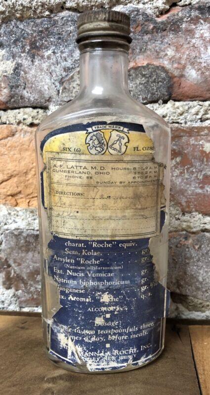 Antique Roche Medicine RX Glass Bottle Dr Latta Cumberland Ohio 6 oz OH Vintage