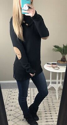 Womens Black Sweater With Elbow Patches Medium