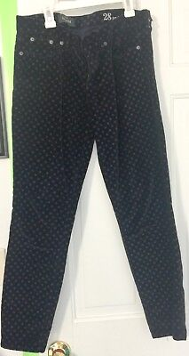 J Crew Toothpick Size 28 Polka Dots Dark Blue Velour Womens Pants Gently Used