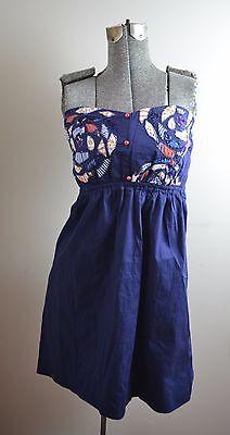 Judith March Navy Blue Patchwork Cotton Stretch Strapless Dress Sz Med MINT