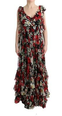 NEW $5800 DOLCE & GABBANA Dress Silk Floral Shift Long Maxi Gown IT36 / US2 /XS
