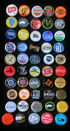 Assorted American beer bottle caps. Lot of 50. All different. USA.