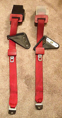 Red Rear 3 Point Harness Seat Belt Set 1982 1992 3Rd Gen Camaro Firebird
