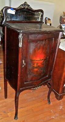 Antique Mahogany Music Cabinet with  Mirror & Bombe Painting  Landscape (Mahogany Landscape Mirror)