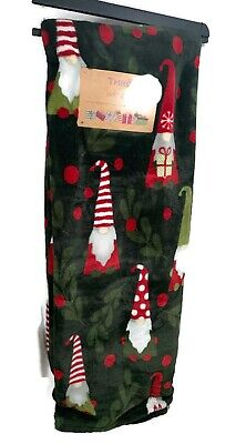 Thro by Marlo Lorenz Winter Christmas Holiday Gnomes Holly Berries Sherpa Throw  ()