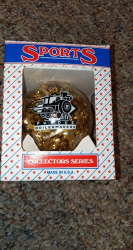 Vintage Sports Collectors Series Glass Ornament Purdue Boilermakers Christmas