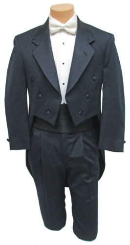 Boys Size 7 Dark Navy Blue Tuxedo Tailcoat with Pants Long Tails Ringbearer